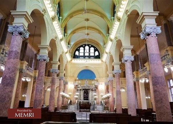 La sinagoga restaurada (Fuente: Al-Masri Al-Yawm, Egipto, 12 de enero, 2020)