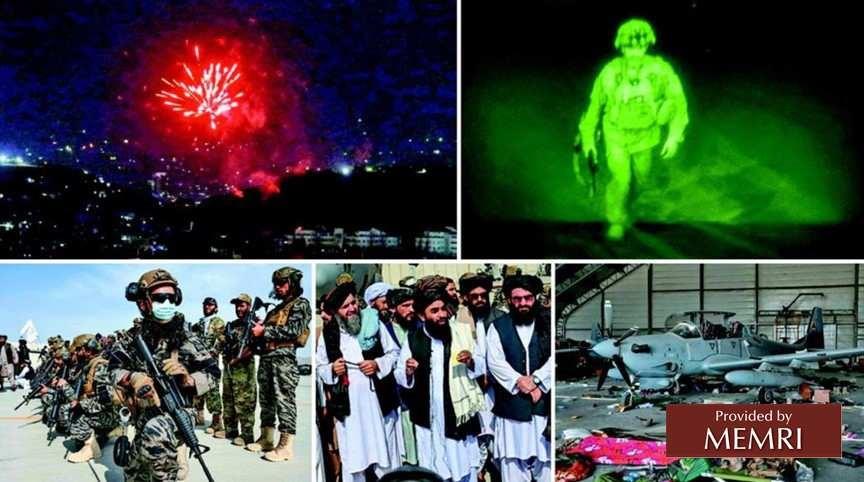 """Zgodnie z ruchem zegara od gór, od lewej strony: Taliban odpala fajerwerki, by świętować pokonanie Ameryki; ostatni amerykański żołnierz opuszcza Afganistan 31 sierpnia 2021 r.; amerykańskie helikoptery wojskowe i inna broń porzucona na lotnisku w Kabulu; rzecznik Talibanu, Zabihullah Mudżahid i inni przywódcy talibów rozmawiają z mediami na lotnisku w Kabulu; dowódcy """"Badri 313"""" przejmują kontrolę nas lotniskiem w Kabulu. (Roznama Express, 1 września 2021)"""