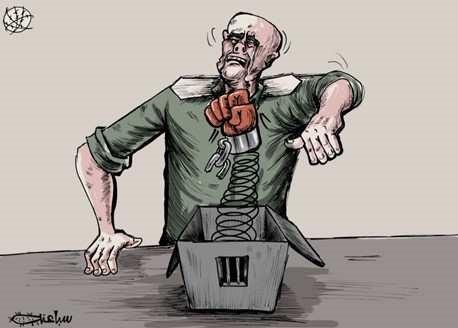 Karykatura w gazecie AP: ucieczka więźniów z więzienia Gilboa jest ciosem w twarz izraelskiej armii (Al-Hayat Al-Jadida, AP, 7 września 2021)