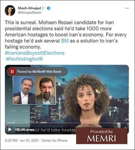 Tweet Masih Alinejad, 10 czerwca 2021.